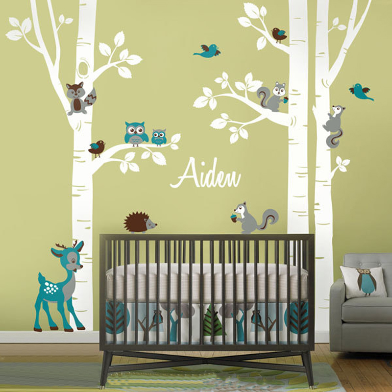 Personalized Birch Trees And Forest Animals Vinyl Owl Squirrel Nursery  Decals Wall Stickers For Kids Rooms