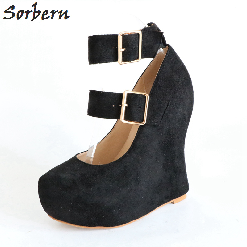 Douce Dames Wedge Noir Femmes Sorbern Chaussures Noir La Boucle De Sangle cusstom 46 Mode Pompes Plus Taille Partie Color Eu35 d4xa0wqn0