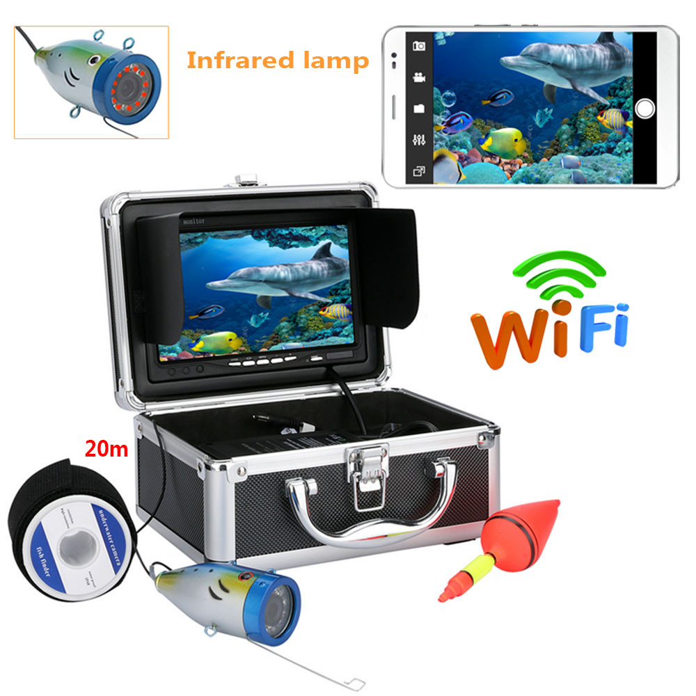 YobangSecurity 7 inch Monitor Wireless Wifi Underwater Fishing Camera Fish Finder Video Recorder Camera IR LED lights With APP