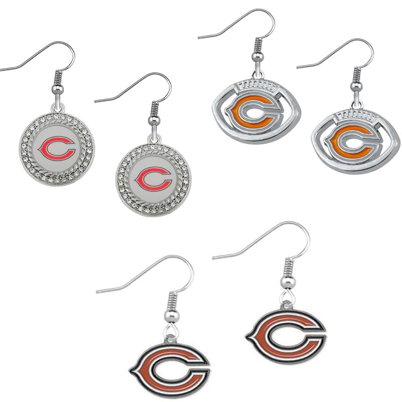 5 пар Американский футбол Chicago Bears Спорт Команды эмаль Длинные висячие серьги ювелирные изделия для Для женщин ювелирные изделия