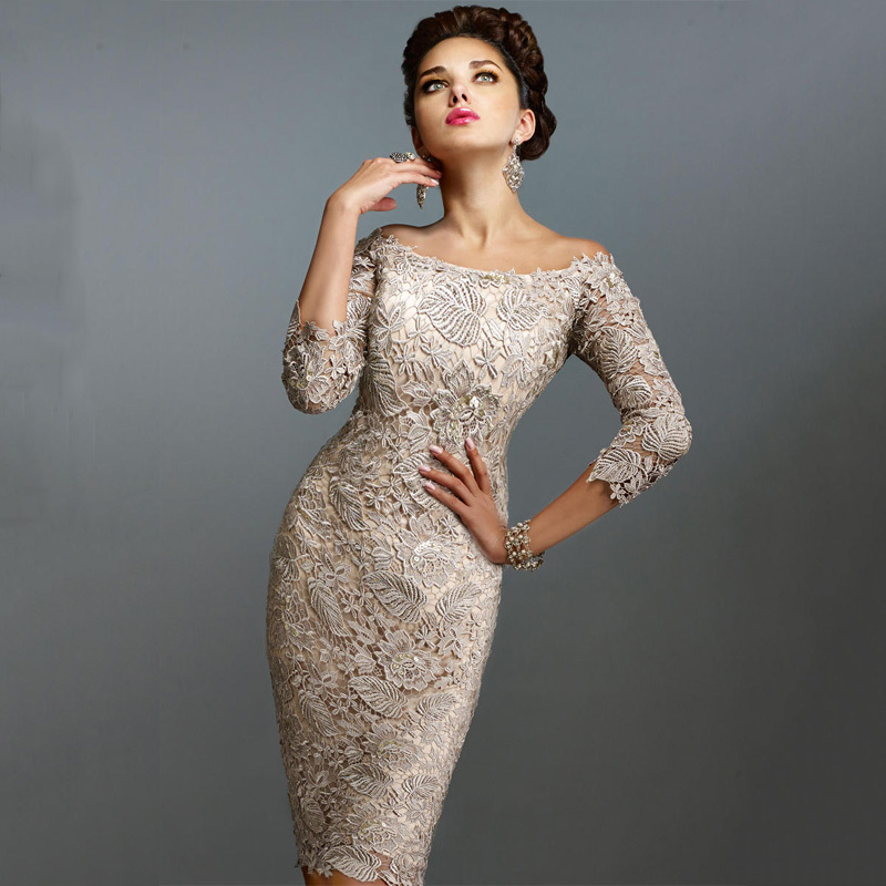 Gold Dress 3 4 Sleeve Lace