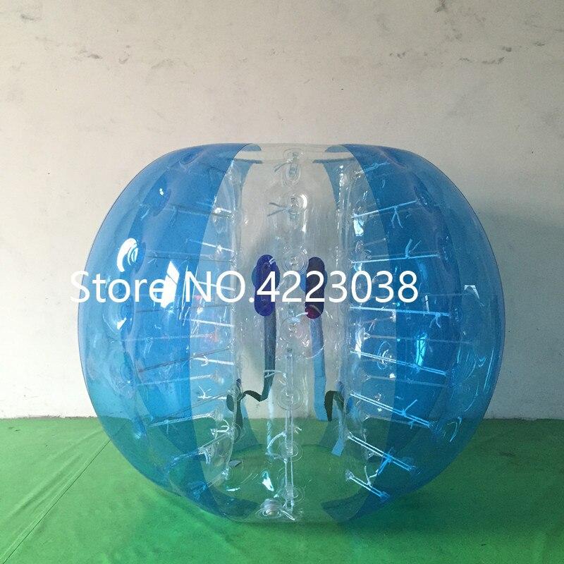 1,5 м надувной футбольный мяч в виде пузыря бампер шар-Зорб пузырь футбол человеческий батут Bubbleball Zorb мяч - Цвет: half blue and clear