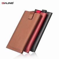QIALINO Universal Bag Genuine Leather Wallet Pouch Phone Case For Samsung Galaxy S7 S6 Note5 Smartphone