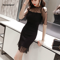 2 Plus Size Sexy Trumpet Dress Women Summer Black Short Sleeve O neck Office Mini Dress for Women Transparent Mermaid Lady Dress