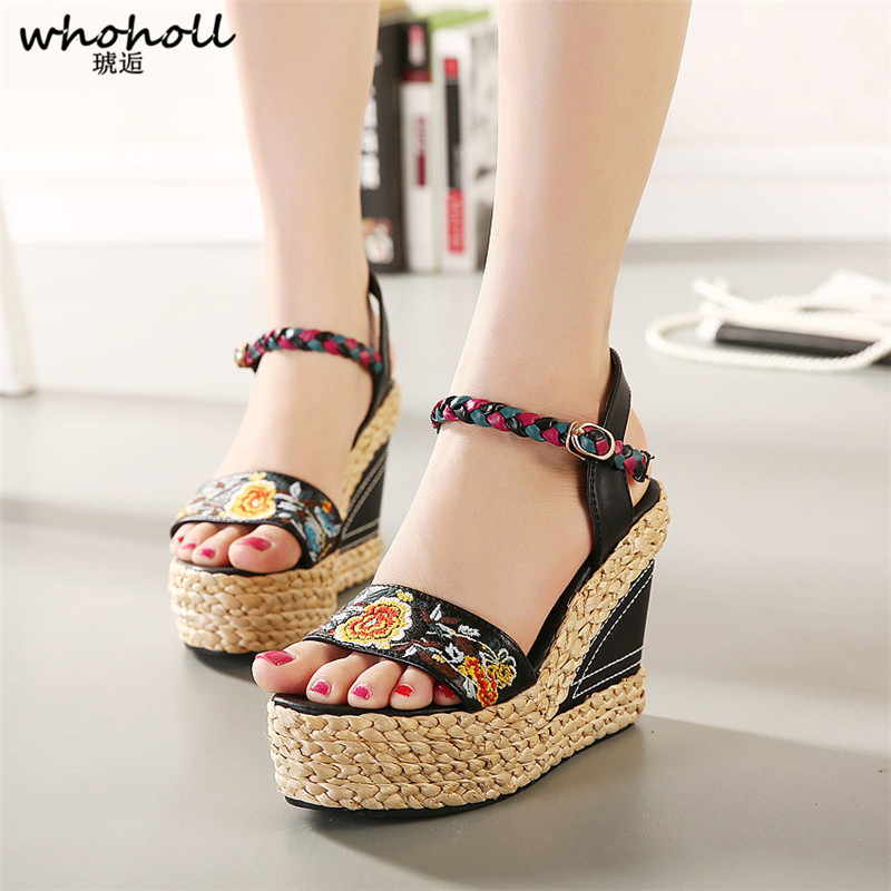 WHOHOLL Shoes Women 2018 Summer New Sweet Flowers Buckle Open Toe Wedge Sandals Floral High-heeled Shoes Platform Sandals vtota new summer sandals women shoes woman platform wedge sweet flowers buckle open toe sandals floral high heeled shoes q75