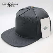 BINGYUANHAOXUAN New Fashion High Quality Four Seasons Men Leather Hat Cap Casual Moto Snapback Mens Baseball Wholesale