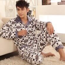 Фотография 2017 Newest Men Pajama Sets Coral Fleece Pajamas Men Clothing Simple Print Leisurewear Suit Paragraph Warm Thick Flannel Set