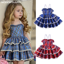 купить Girls Dresses Summer Party Princess Dress Baby Girl Clothes Lolita Style Plaid Pattern Kids Dress 1-5Y Girl Birthday Clothes дешево