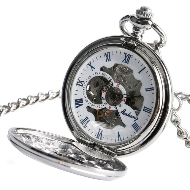 2016 Fashion Steampunnk Smooth Silver Automatic Self-wind Pocket Watch Men Pendant Skeleton Fob Clock Women Christmas Gifts Time