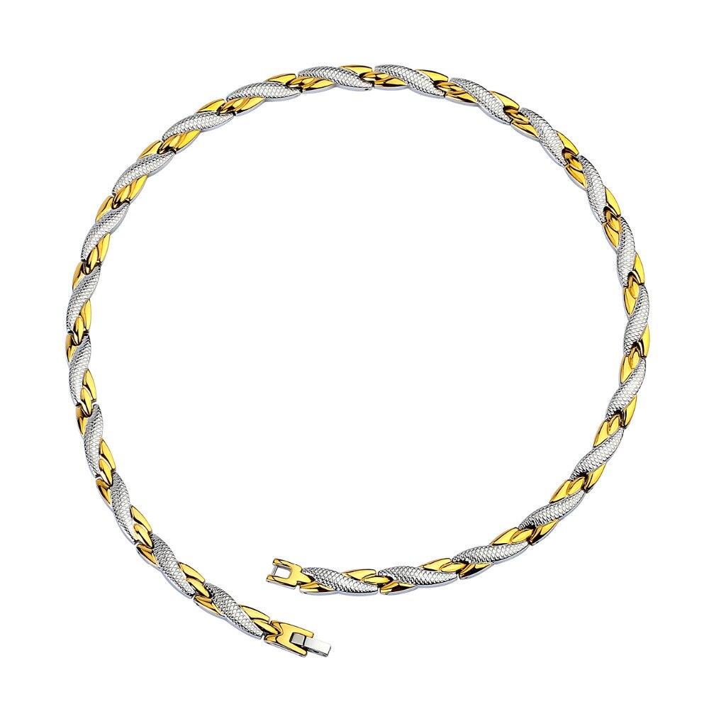 купить Hottime Chain Necklaces Gold-color 316L Stainless Steel Health Energy Germanium Bio Magnetic Necklace for Women Men Jewelry по цене 1771.71 рублей