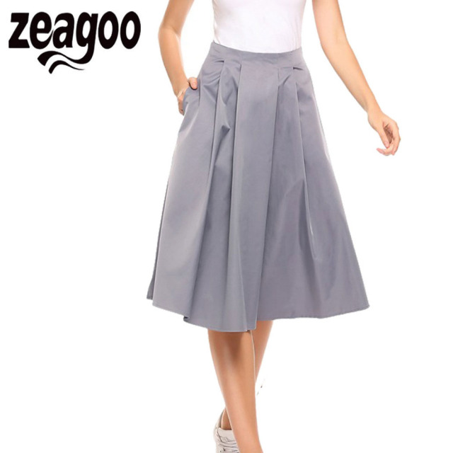 307361c49dc Zeagoo Women Elegant High Waist A Line Retro Style Pleated Solid Zipper  Pocket Skirt Summer Casual