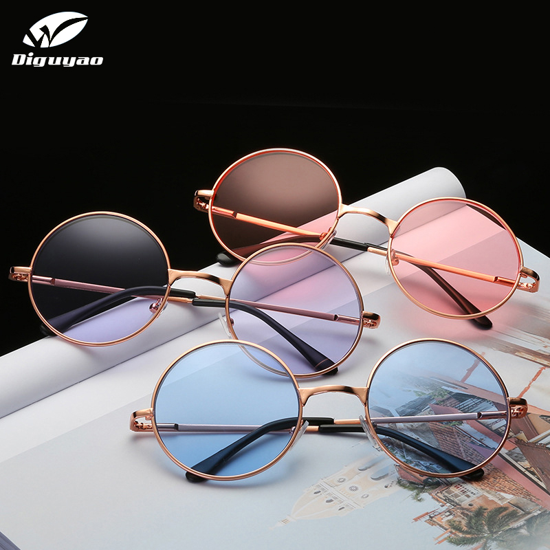 DIGUYAO Vintage classic Multicolour Round Sunglasses Women Metal frame Mercury Reflective Sunglass Men Brand Sun Glasses