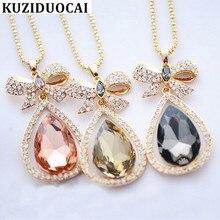 f30df38492c3 Kuziduocai Nueva joyería de moda deslumbrante Flash Arco-nudo en forma de  gota Rhinestones collares largos y colgantes para las .