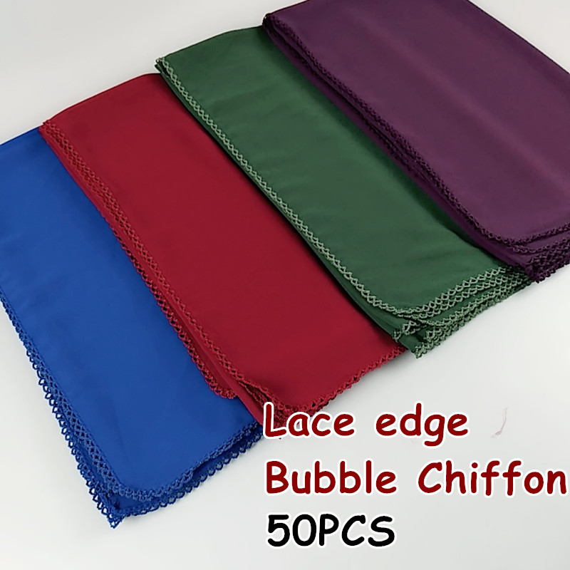 V6 50pcs High Quality Bubble Chiffon Lace Long Hijab Solid Wrap Shawls Scarf Scarves 180*75cm 50pcs 1lot Can Choose Colors