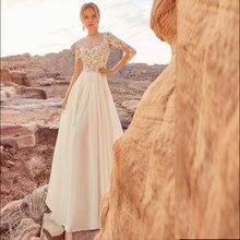 Beach Wedding Dress 2019  A-Line Appliques Chiffon Bride Custom Made Floor Length Gown