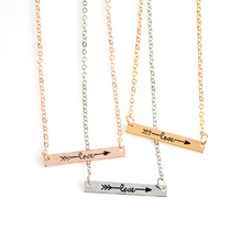 2017 Fashion Charm Female Necklace Rose Gold Silver Simple Letter Love Long strips Arrow Rectangular Necklace For Women Gift