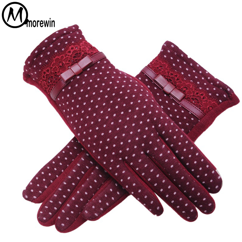 Morewin Fashion New Female Autumn Warm Outdoor Dot Touch Screen Gloves Women Bow Cotton Ladies Full Finger Cashmere Gloves