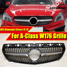 W176 Diamond grille grill Sports A45amg look ABS silver A Class A180 A200 A250 Front Bumper Kidney Grills without sign 2013-2015