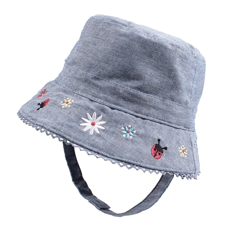 Flower Baby Girls Hat Summer Sun Cap For Fashion Denim Kids Bucket Protect With Strap Clothing 0-4Y