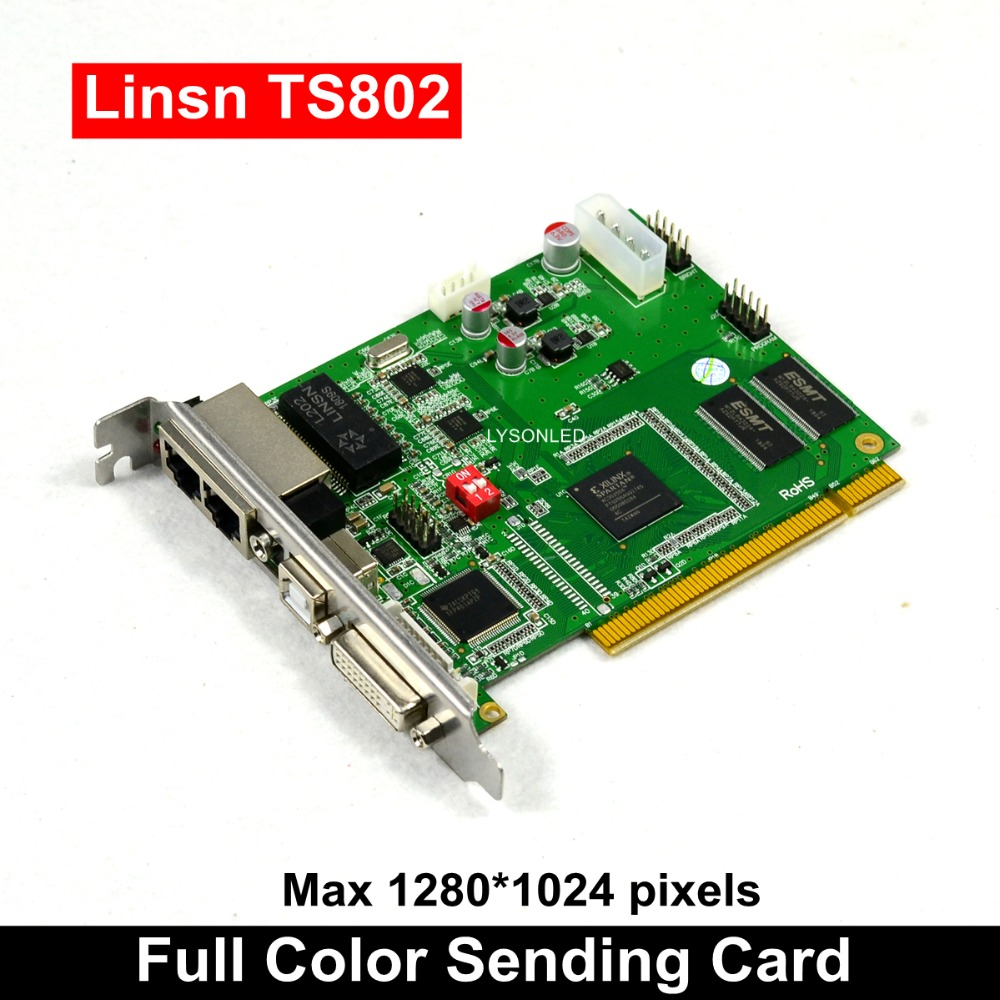 Бесплатная доставка светодиодный дисплей Система управления LINSN TS802D отправка карты, полный цвет P3 P4 P5 P6 P7.62 P10 Светодиодный модуль управлени
