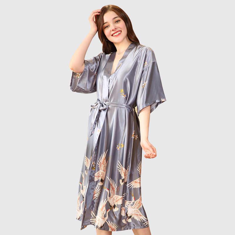 新スタイルレディースセクシーなサテンローブの女性のエレガントなプリント着物浴衣花寝間着プラスサイズ M-3XL
