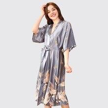 New Style Ladies Sexy Satin Robe Dress Gown Women Elegant Print Nightgowns Kimono Bathrobe Flower Nightdress