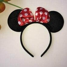 Black Mouse Ear Headband Cute Kids Dot Hair Bows Mickey Minnie Headbands Cloth Festival Party Hair Accessories 4Cls Hairband