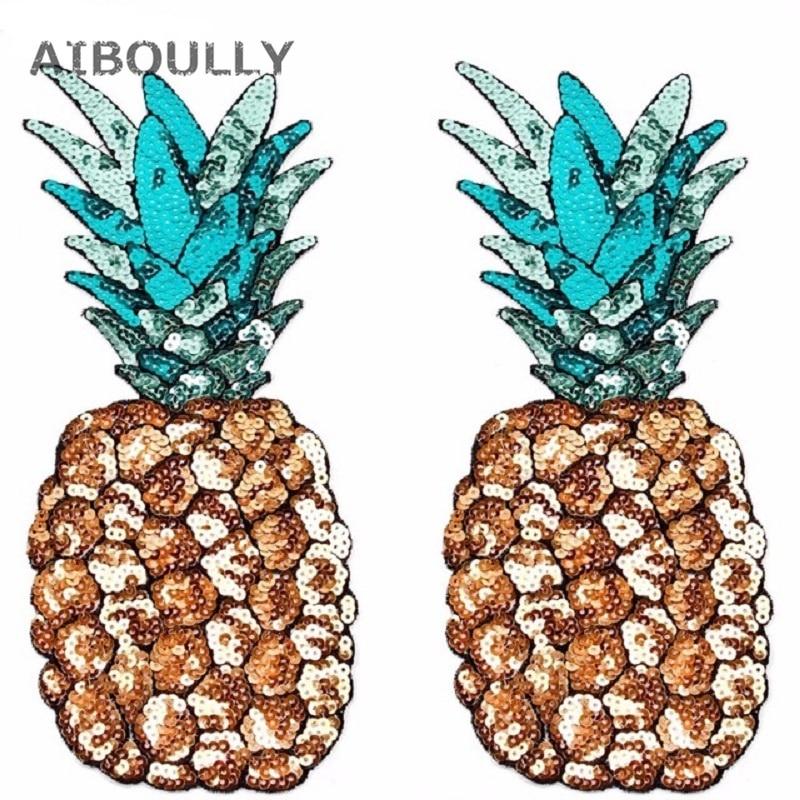 1 stück pailletten eisen auf flecken ananas stickerei patch nähen - Partyartikel und Dekoration