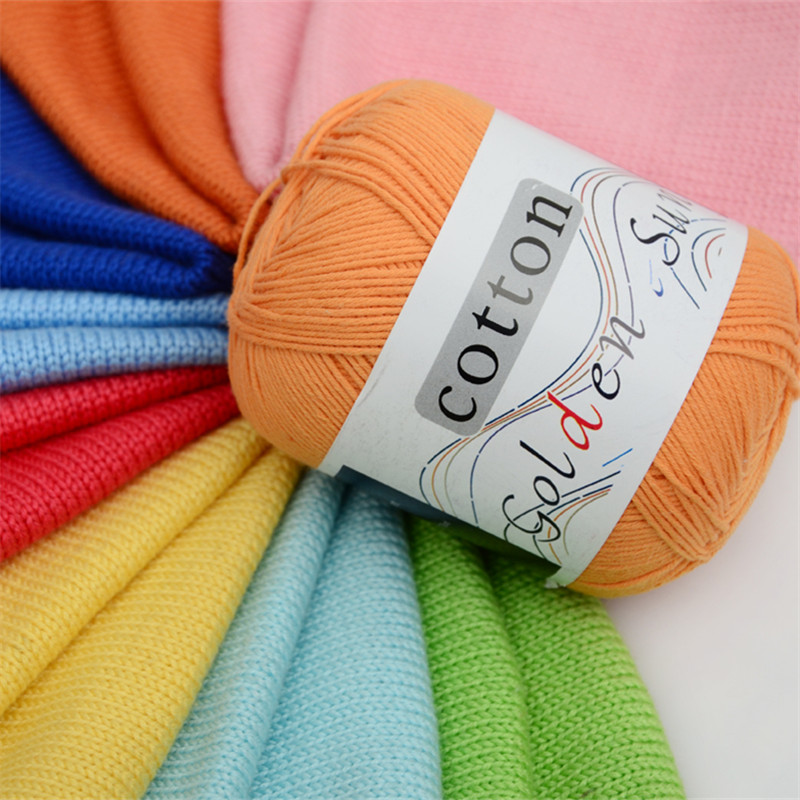 Wholesale 50g/ball Worsted Soft Baby Yarn 100% Cotton Yarn Hand Knitting Yarn Crochet Cotton Thread Infant Sweater Blanket JK486