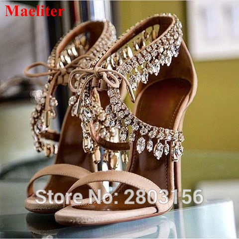 Latest Crystal Suede Sandals Jewel Embellished Gladiator Sandals Sexy High Heels Pumps Lace Up