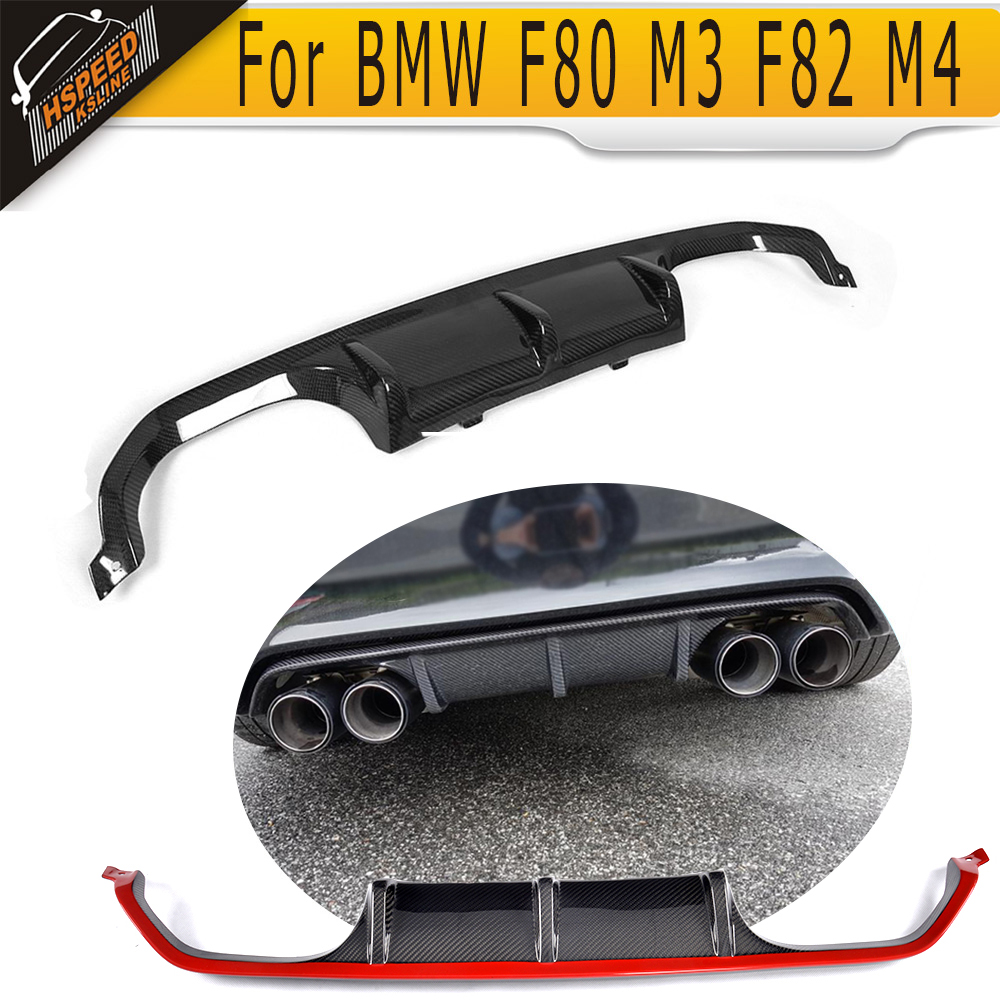 4 Series Diffuser for BMW F80 M3 F82 F83 M4 14 19 Standard And Convertible Black FRP Carbon Fiber Car Rear Bumper Lip Spoiler in Bumpers from Automobiles Motorcycles