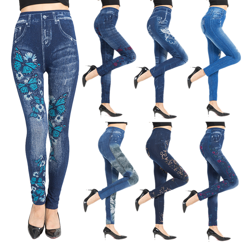 16 Style New Summer Floral Print Leggings for Women Sexy Autumn Blue Jeans Black Legging 2019 High-waist Pants Plus Size Legends
