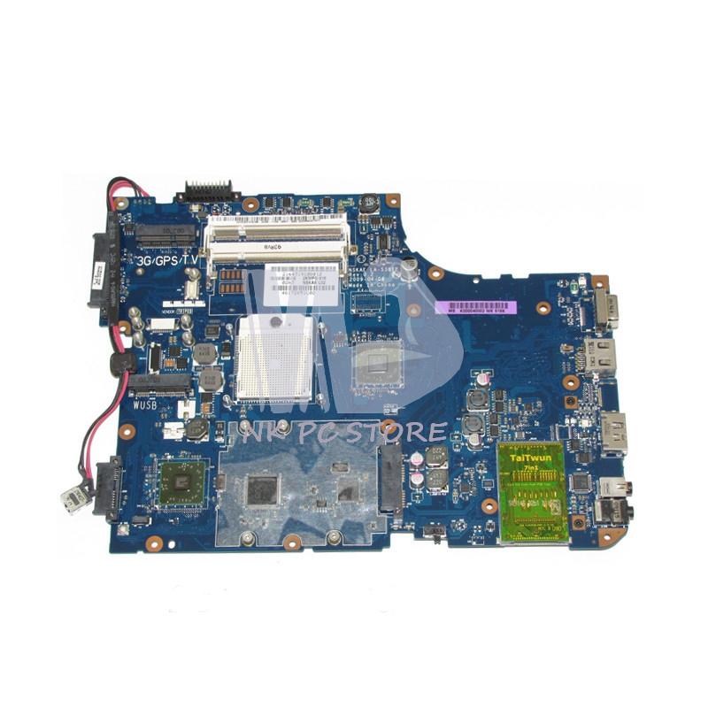 K000040002 LA-5381P Main Board For Toshiba Satellite A500 Laptop Motherboard Socket S1 DDR2 with Free CPU h000042190 main board for toshiba satellite c875d l875d laptop motherboard em1200 cpu ddr3