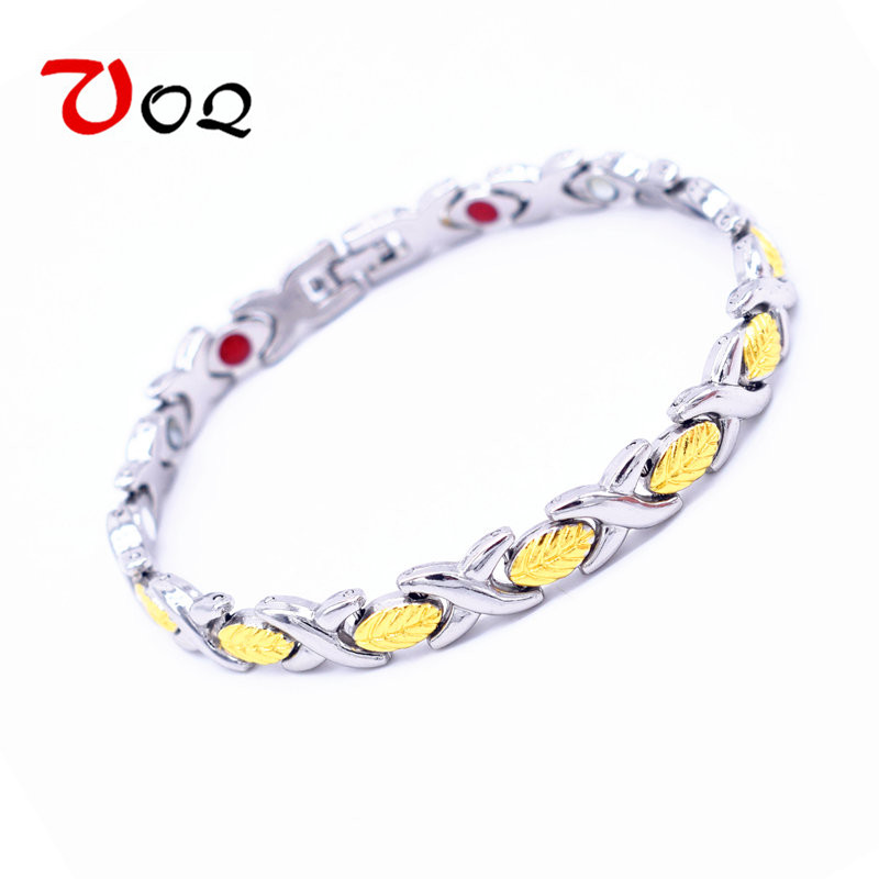 Magnetic Bracelet Health Pulceras For Women Gold Plated Stainless Steel Magnet Bracelet Men Jewelry locket