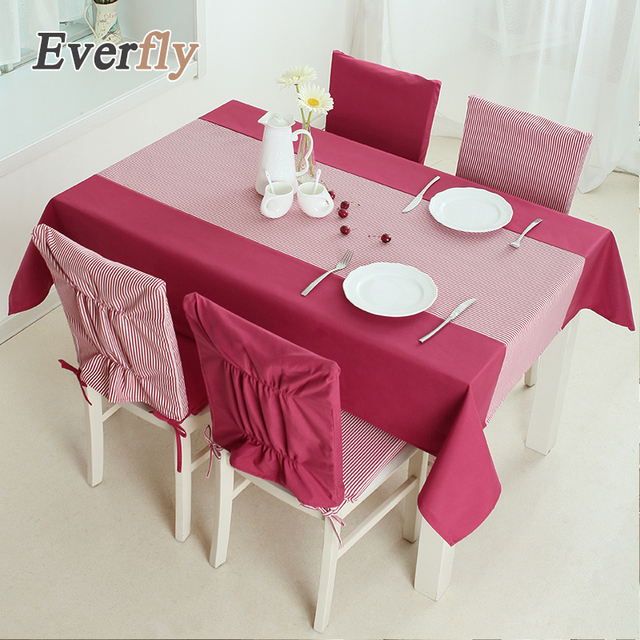 American Country Red Blue Stripe Polyester Table Cloth Cover Rectangle Plain Dyed Coffee Covers