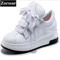 Zorssar 2017 Fashion Genuine Leather Womens Flat Sport Casual High Top Shoes Lace Up Leisure