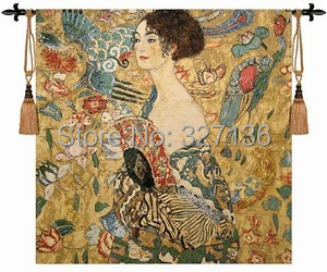 The world famous paintings Klimt holding fan dress women picture decor wall hanging tapestry big home textile custom