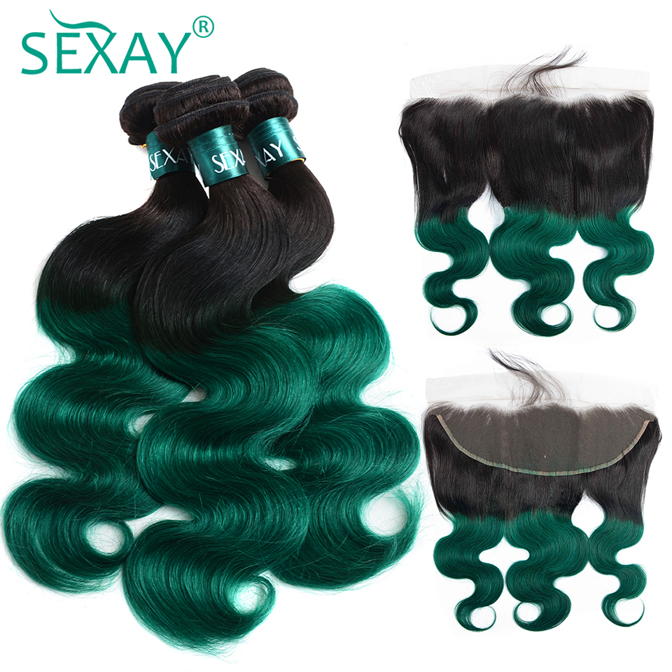 Ombre Brazilian Body Wave Hair Bundles With Frontal Non Remy Hair SEXAY Dark Roots 1B/Green Colored Bundle With Frontal Closures