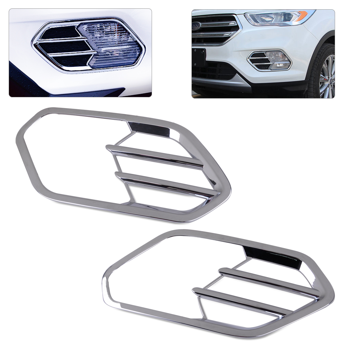 Citall 2 pcs car styling abs chrome plated front fog light lamp cover trim fit for ford escape kuga 2017