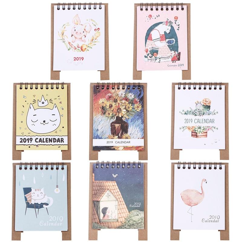 Kalender, Planer Und Karten 2019 Neue Kawaii Cartoon Tisch Kalender 12,5*9,5 Cm Kreative Schreibtisch Vertikale Papier Multi-funktion Zeitplan Plan Notebook Den Speichel Auffrischen Und Bereichern