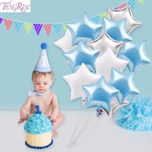 FENGRISE 12pcs 18inch Blue White Star Balloons Baby Shower Decorations for Boy or Girl Gender Reveal Party Baby Shower Favors(China)
