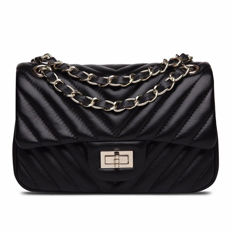 100% Genuine Leather Brand Design Luxury Women Chains Mini Messenger Bags Small Crossbody Shoulder Bags Classic Trendy Black sac