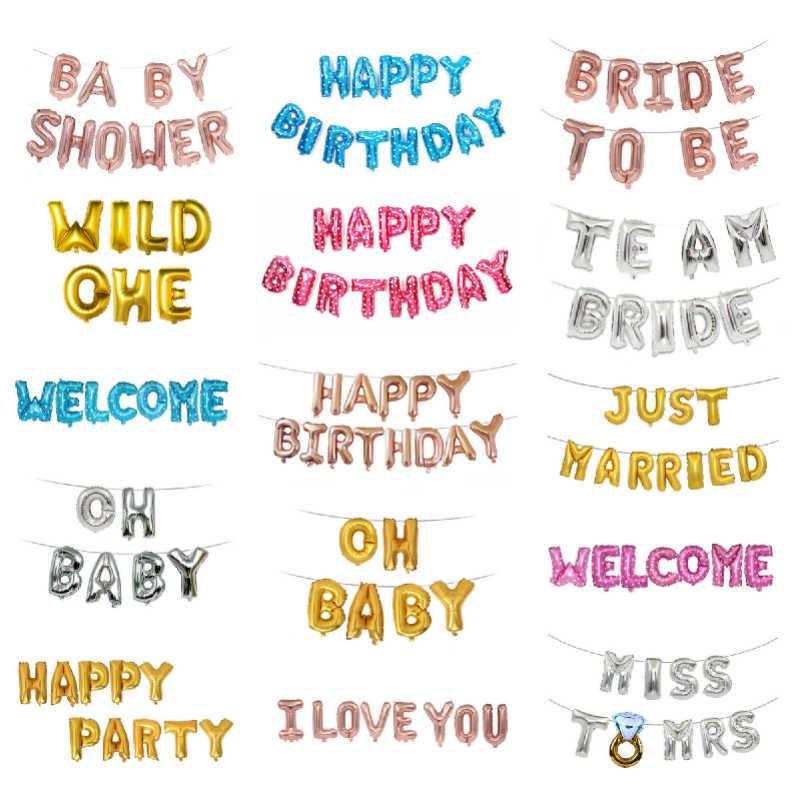 16 นิ้วลูกโป่งตัวเลขชื่อ Gold Letter บอลลูนงานแต่งงานบอลลูนวันเกิดตกแต่งเด็กผู้ใหญ่ Babyshower บอลลูน