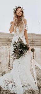 Image 4 - Piena Del Merletto Abito Da Sposa Ritratto Della Sirena Da Sposa Abiti Da Sposa 2019 New Custom Made Beach Abiti Da Sposa Elegante