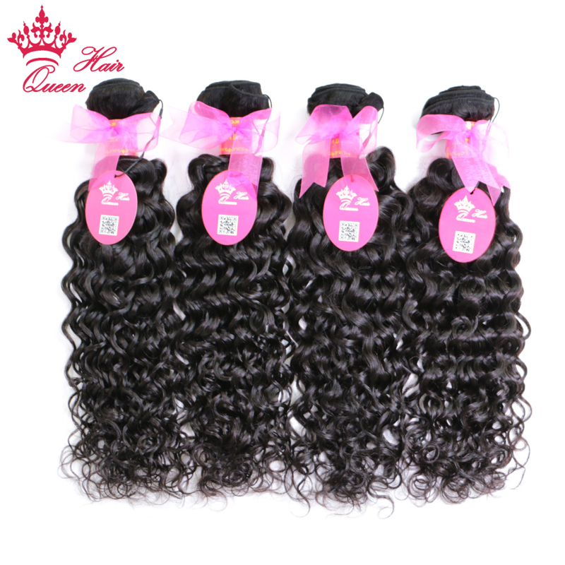 Queen Hair Products Brazilian Water Wave Hair 4pcs lot 100 Human Hair Weave Bundles Natural Color