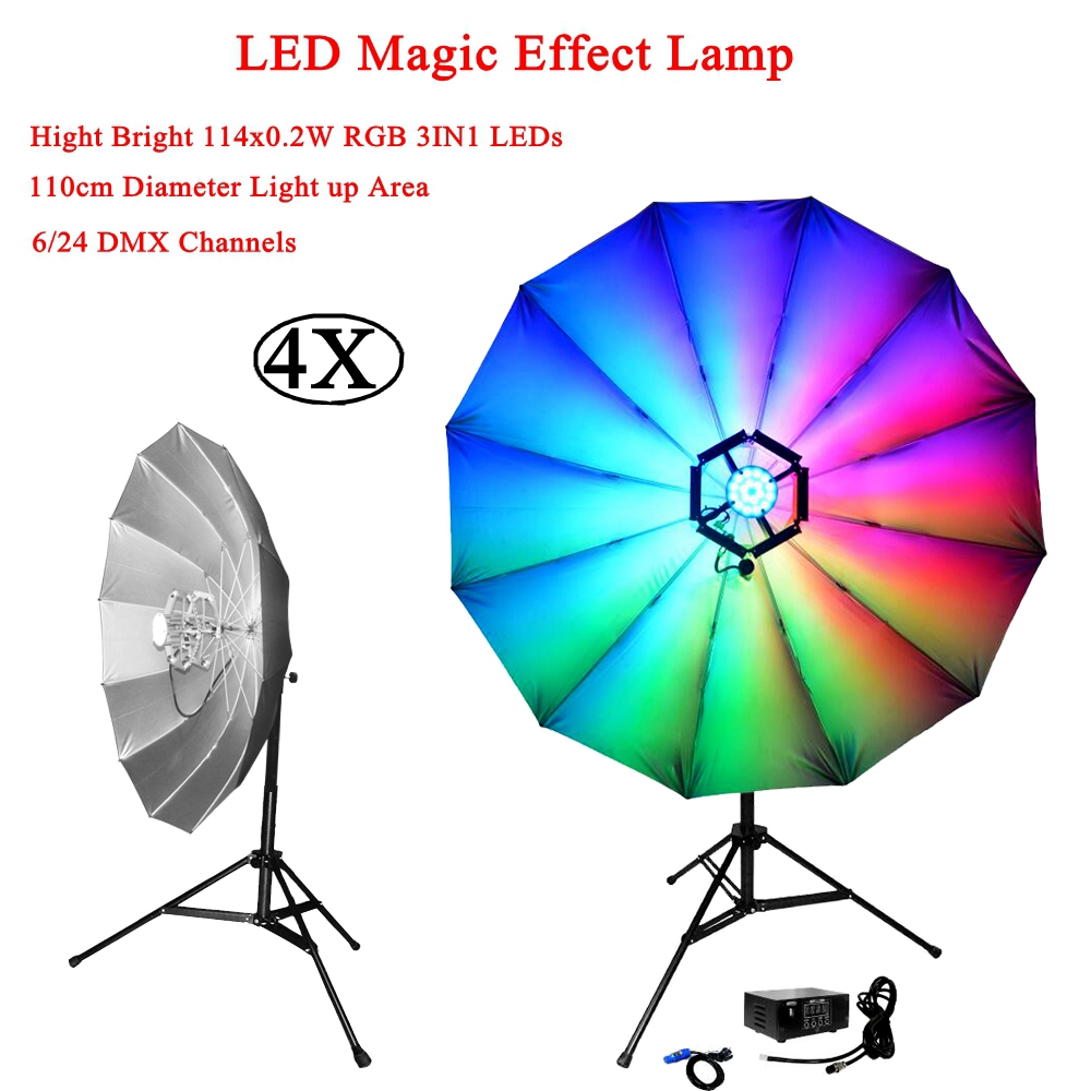4Pcs/Lot LED RGB Magic Stage Light 6/24 DMX Channels DJ KTV Disco Party Laser Light Magic Crystal Effect Lamp 20W Music Light