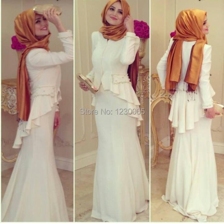 2018 Muslim Long Sleeve Ruffles Evening Gown With Jacket Chiffon Prom Vestido De Festa Longo Mother Of The Bride Dresses