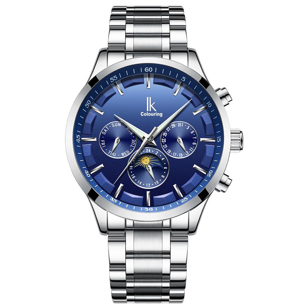 1f69ca87dff 2018 Popular Cor do Céu Azul Automático Mecânica Mens Watch Multifunções  Moda De Aço Completo Relógio Marca de Topo Homens Reloj Hombre