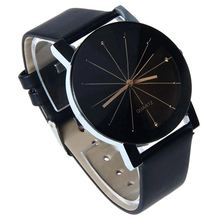 Unique Mens Quartz Round Dial Case Clock PU Leather Band Wrist Watch Black