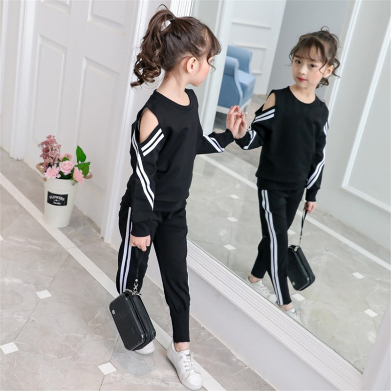 New Arrival Daiyi Girls Sport Suits Striped Cotton Hollow Out Children Clothing Set For 4-14 Years 2018 new arrival girls clothing set